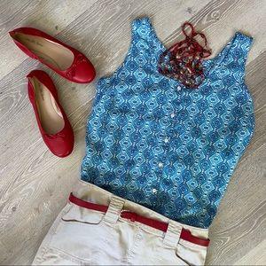 FADED GLORY Blue & White Buttoned Sleeveless Shirt